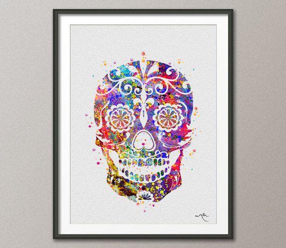 Sugar Skull Day Of The Dead Watercolor Art Print Geekery