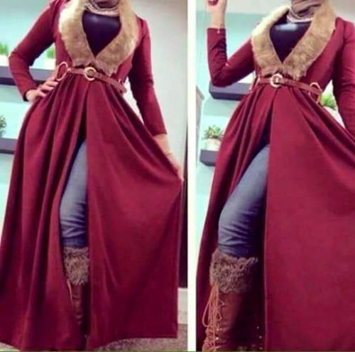 red-open-dress-with-fur- Hijab trends from the street http://www.justtrendygirls.com/hijab-trends-from-the-street/
