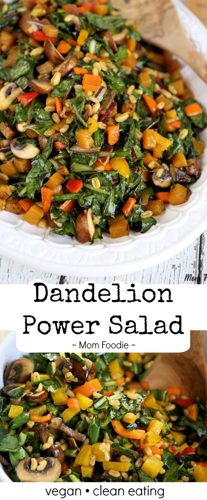 Dandelion Greens salad recipe with golden beets, kamut, mushrooms & sweet peppers - easy dandelion salad dressing. Vegan, Clean Eating