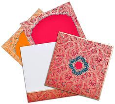 This magnificent hot pink color design with paisley theme is made of card stock texture sheet avaiable with set of two colorful inserts and envelope. Front of this card has space to print intials or symbols of your choice. Inserts have matching design with a frame style look. Extra inserts are available as required.