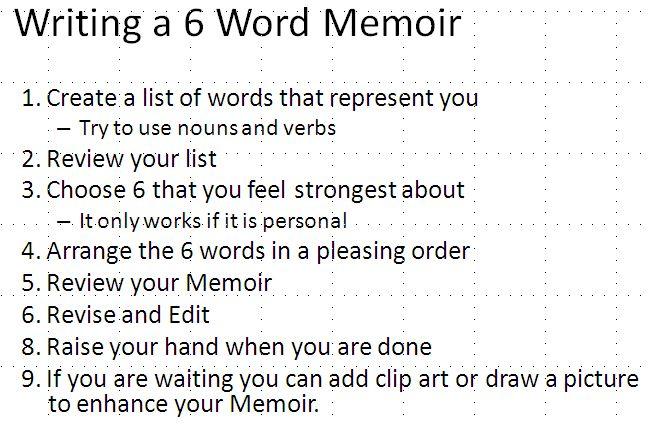 6 word memoirs - Google Search                              …