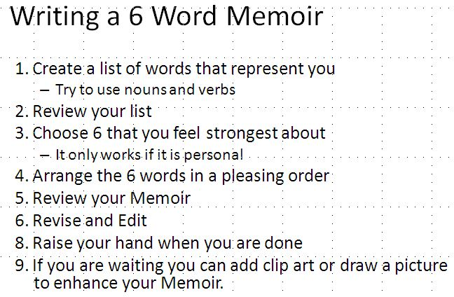 6 word memoirs - Google Search
