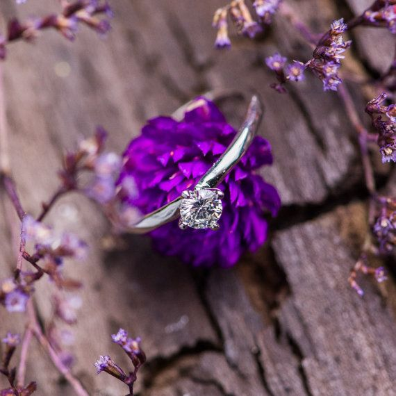 Solitaire Natural White Diamond Ring in 18K White by ZEHAVAJEWELRY