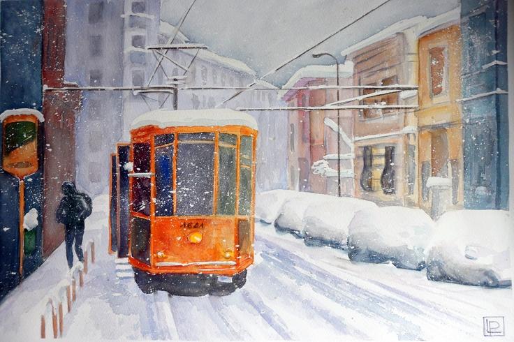 Tram nella neve greco via martiri oscuri acquerello 35x51 for Via pietro mascagni 8 milano