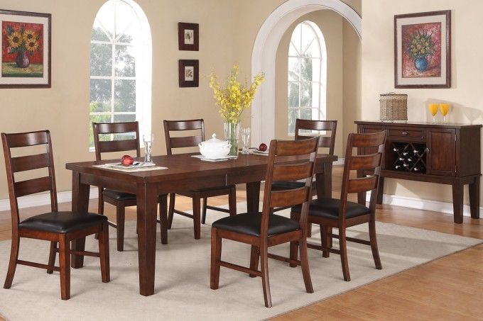 Dark Wood Dining Table By Poundex With Parson Dining Chairs And Cozy Sisal Rugs Plus Parkay Floor