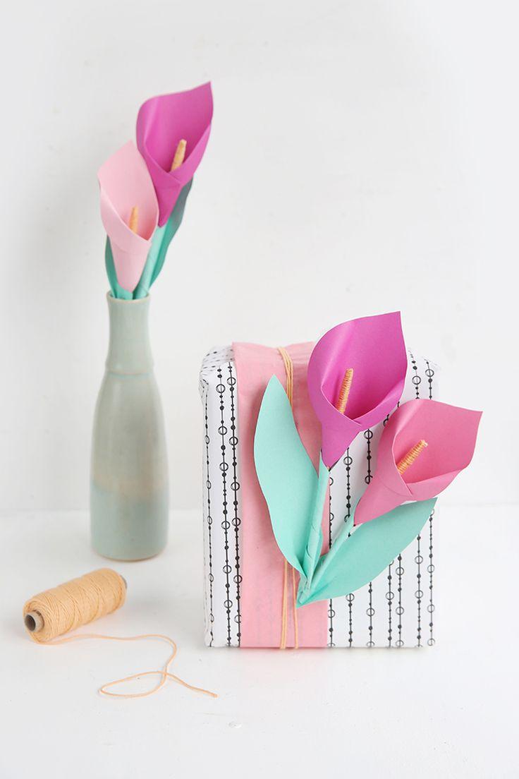 DIY-Calla Blume aus Papier ganz einfach selbermachen – als Verzierung für Geschenke oder als DIY-Deko für zuhause als Papier-Blumenstrauß