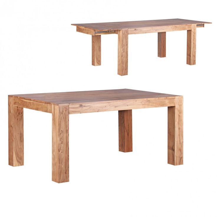 FineBuy Esstisch Massivholz Akazie 160 - 240 cm ausziehbar Esszimmer-Tisch Design Küchentisch Landhaus-Stil Holztisch 40718