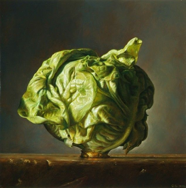 'Eve' (2011) by Italian realist figurative painter Gianluca Corona (b.1969). Oil on board, 8 x 8 in. via Salamon & C