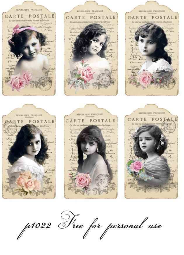 Vintage girls tags Digital collage    p1022  Free for personal use..