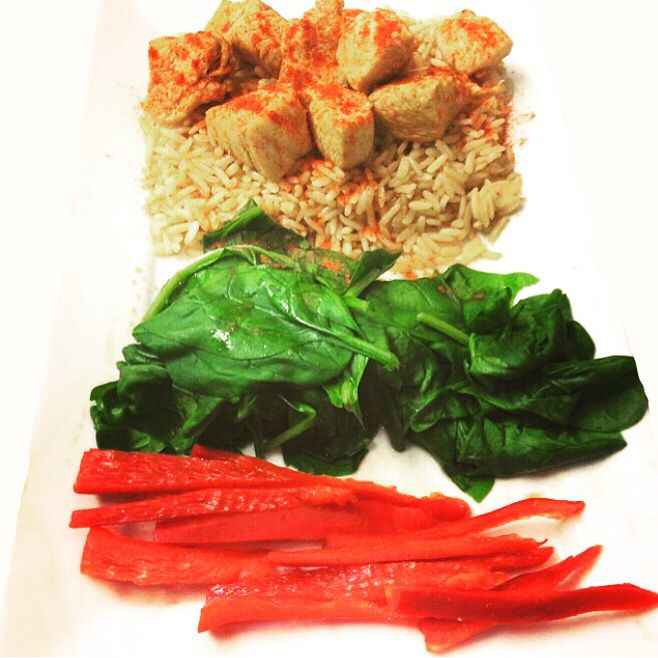 Chicken with paprika spinach and red pepper
