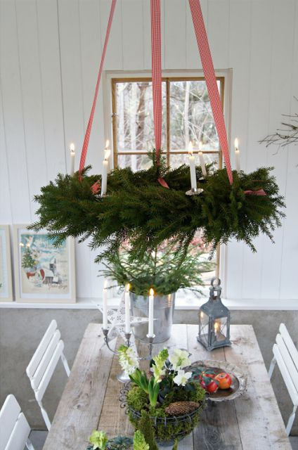 Hanging Wreaths from the Ceiling