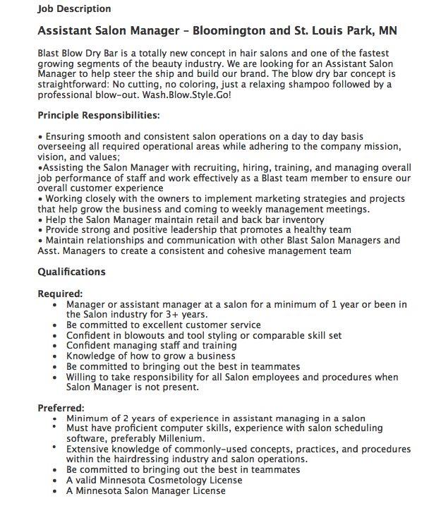assistant salon manager job description httpresumesdesigncomassistant salon manager job description free resume sample pinterest job salon manager description