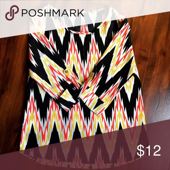 Medium Chevron Top Navy, yellow, and orange. Unless otherwise noted, all items are in excellent condition. Please feel free to ask any questions you may have about my items! I am here to help! Make me an offer I can't refuse! Tops Blouses