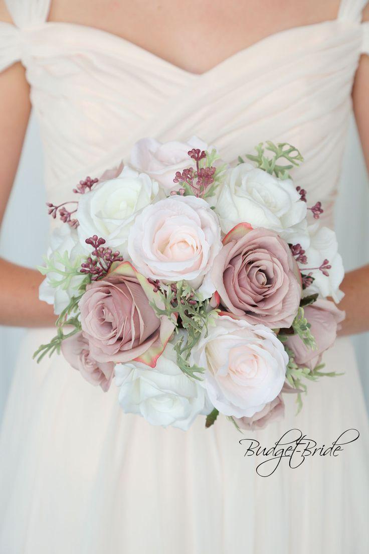 Ballet Pink Davids Bridal Wedding Flowers with blu…