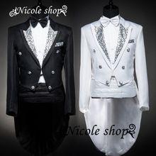 Dos homens de três peças vestido equipada dos homens novos magro ternos do noivo negócios carreira preto branco(China (Mainland))