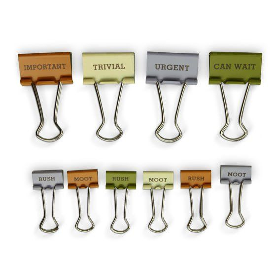 Knock Knock's Importance Task Clips are cool bull clips. Cute binder clips like these unique office supplies are great as gifts, too!