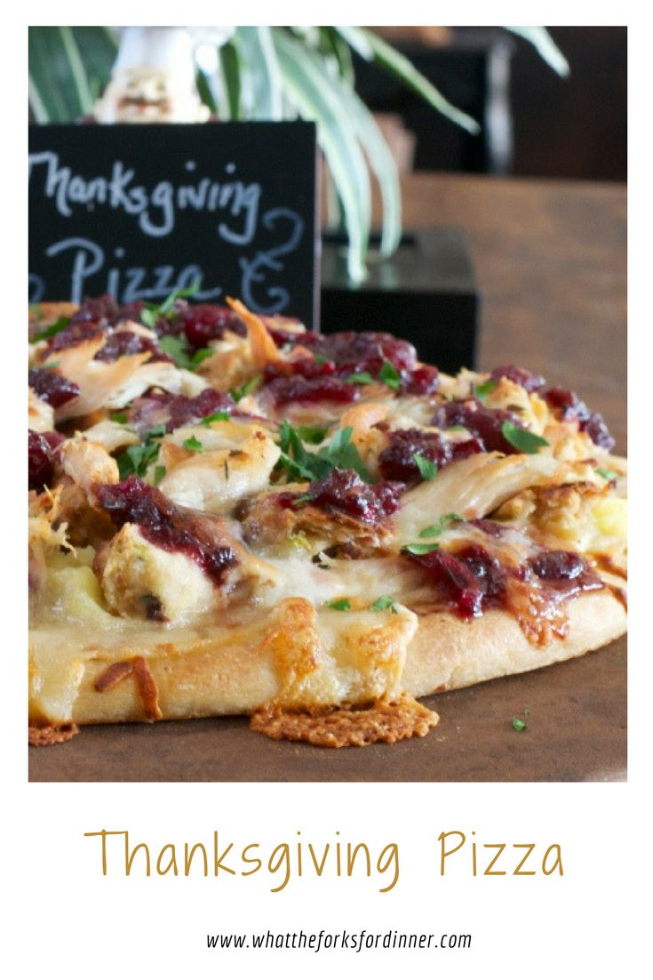 Thanksgiving Pizza- All the best of Thanksgiving on a pizza. Great way to use leftovers from Thanksgiving or Christmas. A slice of holiday heaven!
