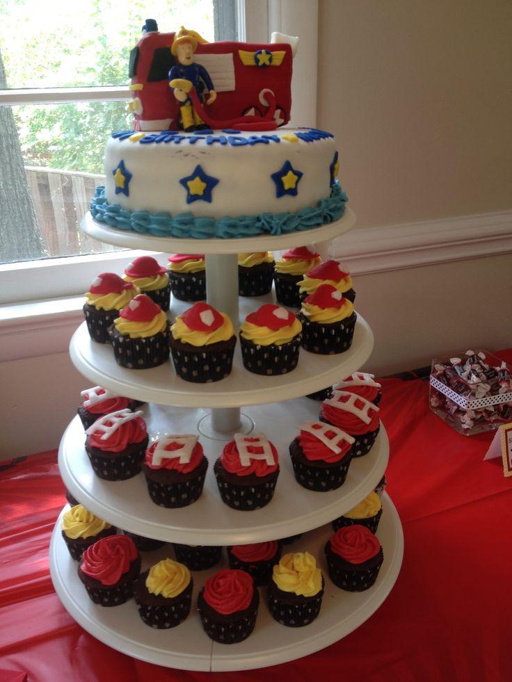 'Fireman Sam' Birthday Cake & Cupcakes |  Shared by LION