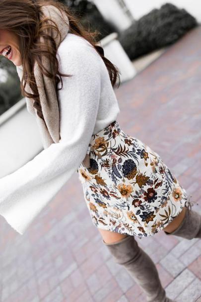 Floral skirt & white bell sleeve blouse.