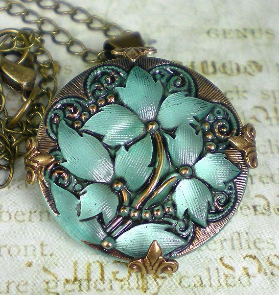 Glass Button Necklace Aqua Czech Glass Floral Button Oxidized Brass Vintage Inspired Jewelry. $22.00, via Etsy.