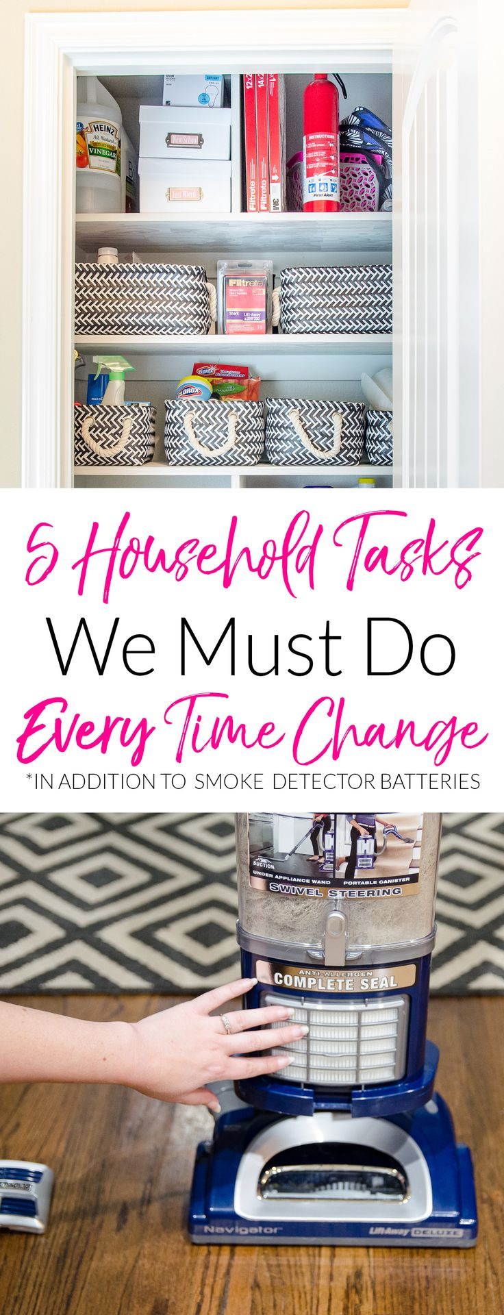 Staying on top of these simple home maintenance tasks can keep your family a bit safer and healthier. Get the list of each quick thing you should be tackling every time the time changes. Finally Daylight Savings Time is helpful around here!  #ad #freshhomehappening