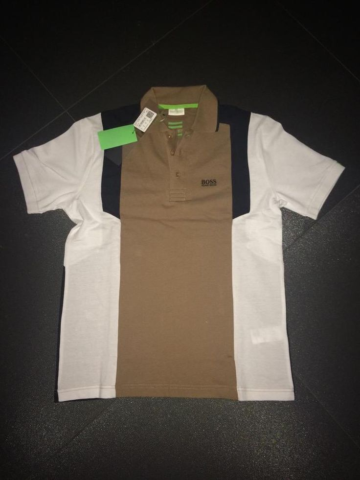 New Men Hugo Boss Green Polo T-Shirt Golf White - Brown Size S