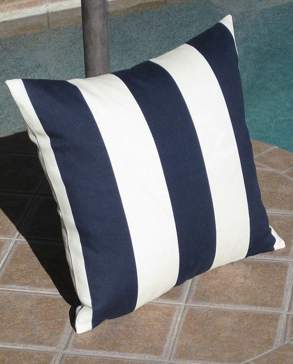 Navy And White Striped Throw Pillow : Outdoor Navy Blue and Off White Stripe Throw Pillow Cover