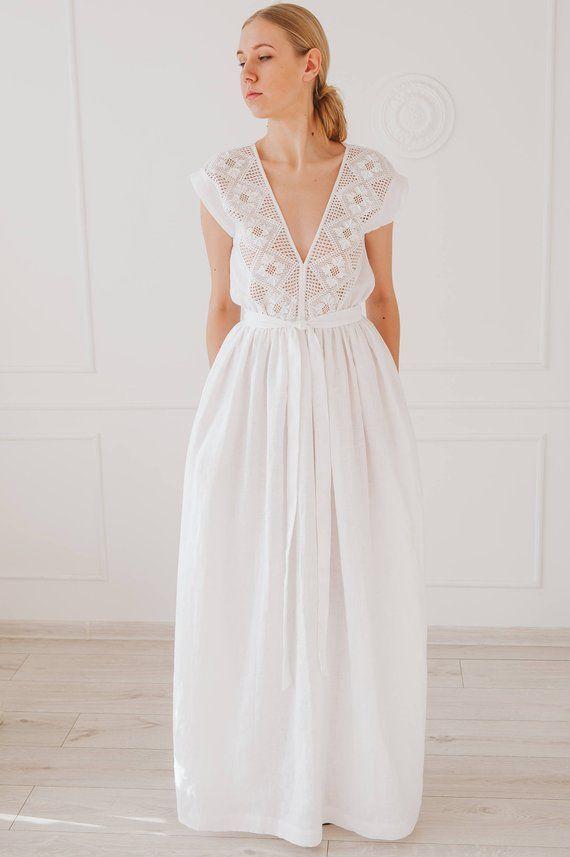 White Maxi Dress Exclusive Dress Linen Wedding Dress Rustic Wedding Dress Bridesmaid Dress Mod Linen Wedding Dress Wedding Dresses Modest Wedding Dresses
