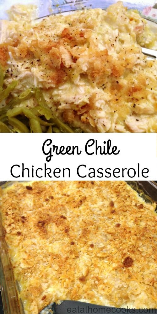 This Green Chile Chicken Casserole is a little twist on the traditional chicken casserole and the ultimate comfort food!