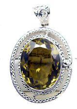 fine Lemon Quartz 925 Sterling Silver Yellow Pendant jewellery US gift