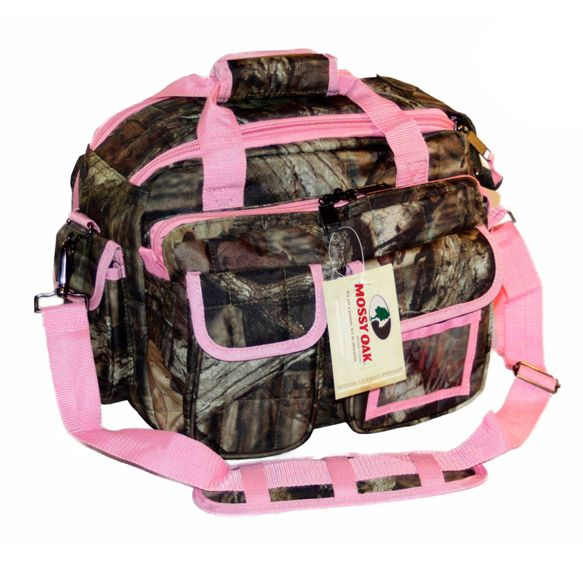 Mossy Oak Pink Trim Camouflage Tactical Range Bag. Carry pistols, magazines, bullets, cameras, and all kinds of other gear in style with this bag!