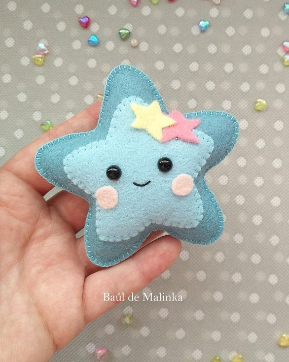 Star PDF pattern Felt moon and stars DIY star ornament Nursery decor Baby's mobile toy Felt baby toy Kids present Felt ornament star garland