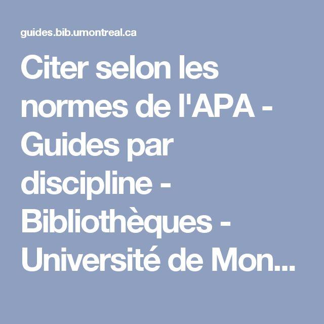 Citer selon les normes de l'APA - Guides par discipline - Bibliothèques - Université de Montréal