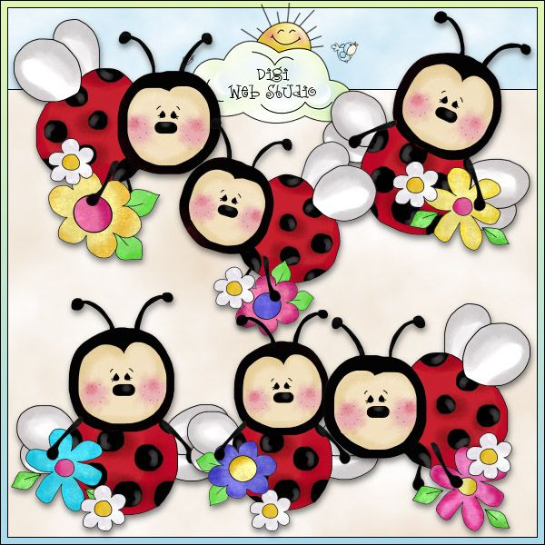 Lazy Ladybugs Love Flowers 1 - NE Cheryl Seslar Clip Art : Digi Web Studio, Clip Art, Printable Crafts & Digital Scrapbooking!