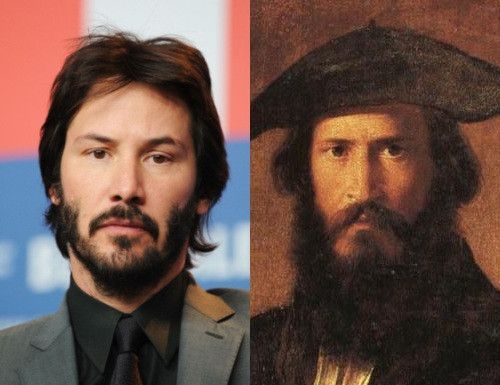 Keanu Reeves on the left; French actor Paul Mounet