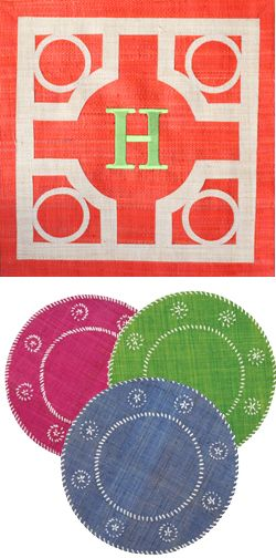 Monogrammed Raffia Placemats from The Monogram Shop - would be good for a summer time table setting