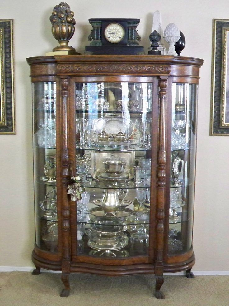 Antique Silver And Crystal Display Curio Vitrine