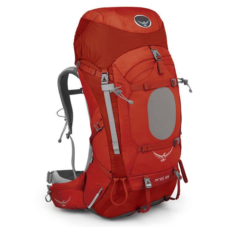 #Trekking-Rucksack Ariel 65 bei Koffermarkt: ✓62-65 Liter ✓rot ✓inkl. Regenschutzhülle  ✓32 x 36 x 90 cm ✓Tragesystem WS oder WM