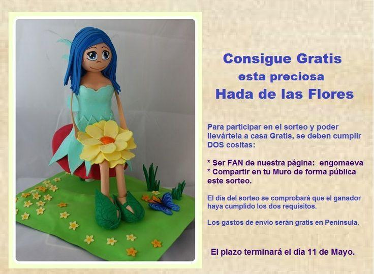 Gana gratis esta fofucha Hada de las Flores, hecha totalmente a mano, de forma artesanal. Búscame en Facebook: EN GOMAEVA , y sigue los pasos para conseguir esta muñeca gratis.