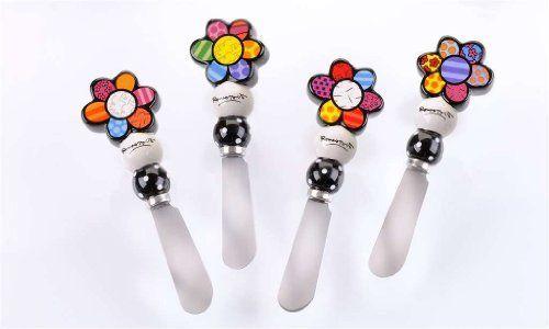 Romero Britto Steel/Ceramic Spreader - Flower by GC. $34.00