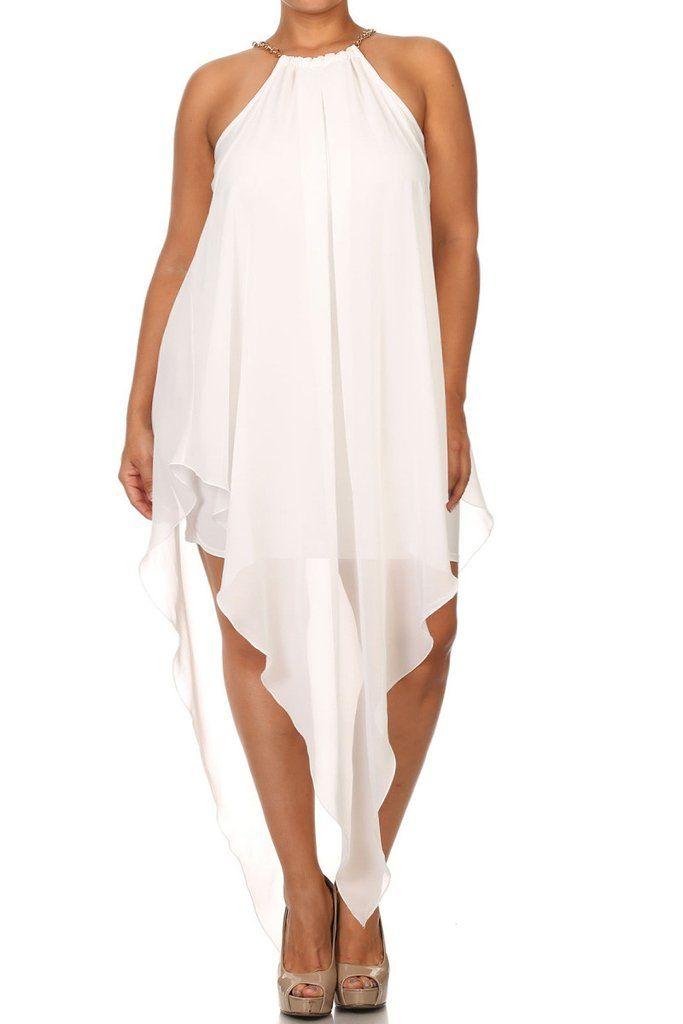 Plus Size Heaven Dip V Hem Gilded Neckline Dress (plus size) #plussizefashion #dress #summer