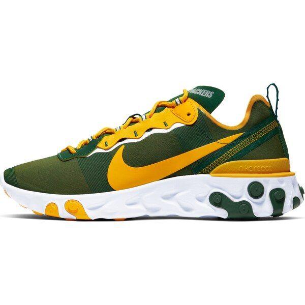Green Bay Packers Nike React Element 55 Shoes Green Greenbaypackers In 2020 With Images Green Bay Packers Shoes Nike Green Nike