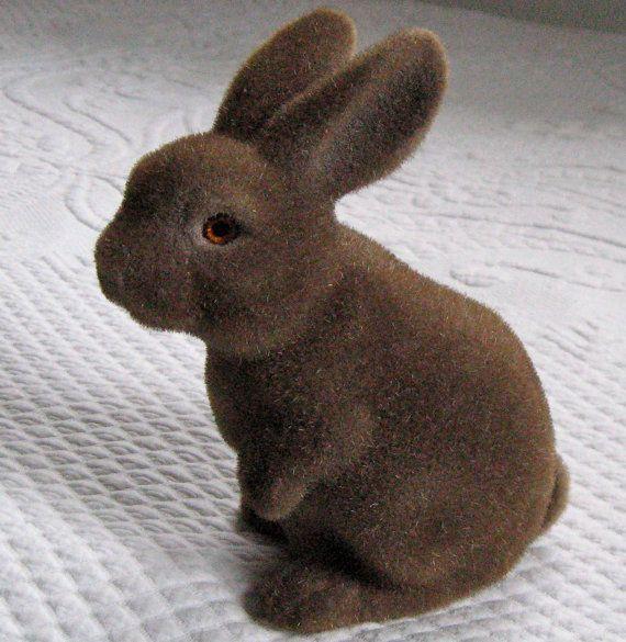 Flocked brown bunny savings bank
