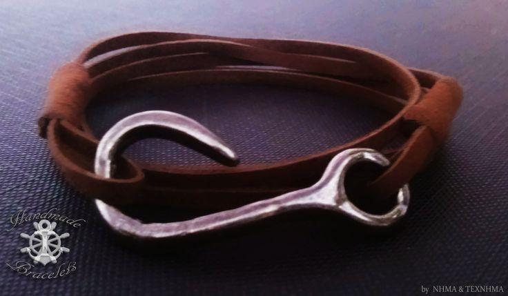 καφέ σουέτ σχοινί με μολυβί γάντζο #hook #handmade #bracelet