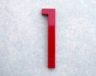 Casa moderna numero alluminio moderni Font numero uno 1 in rosso