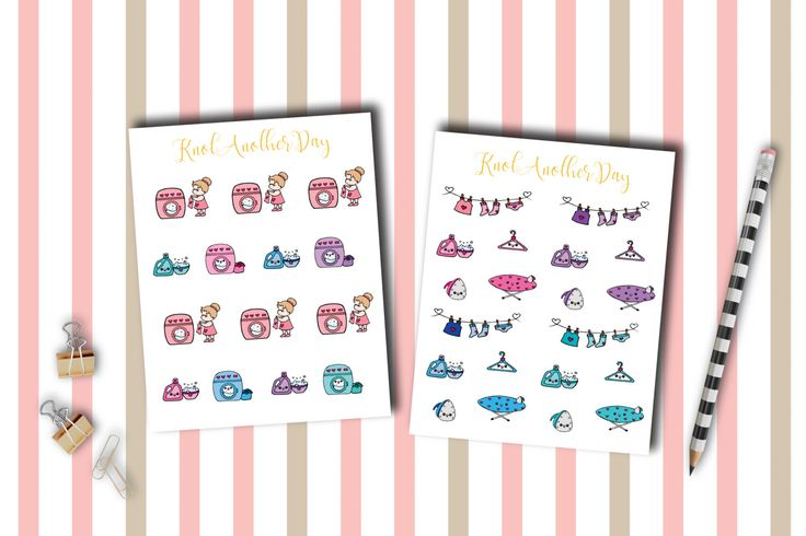 MISU Laundry Day Planner Stickers by KnotAnotherDay #plannersticker #laundry #iron #cloth #washing