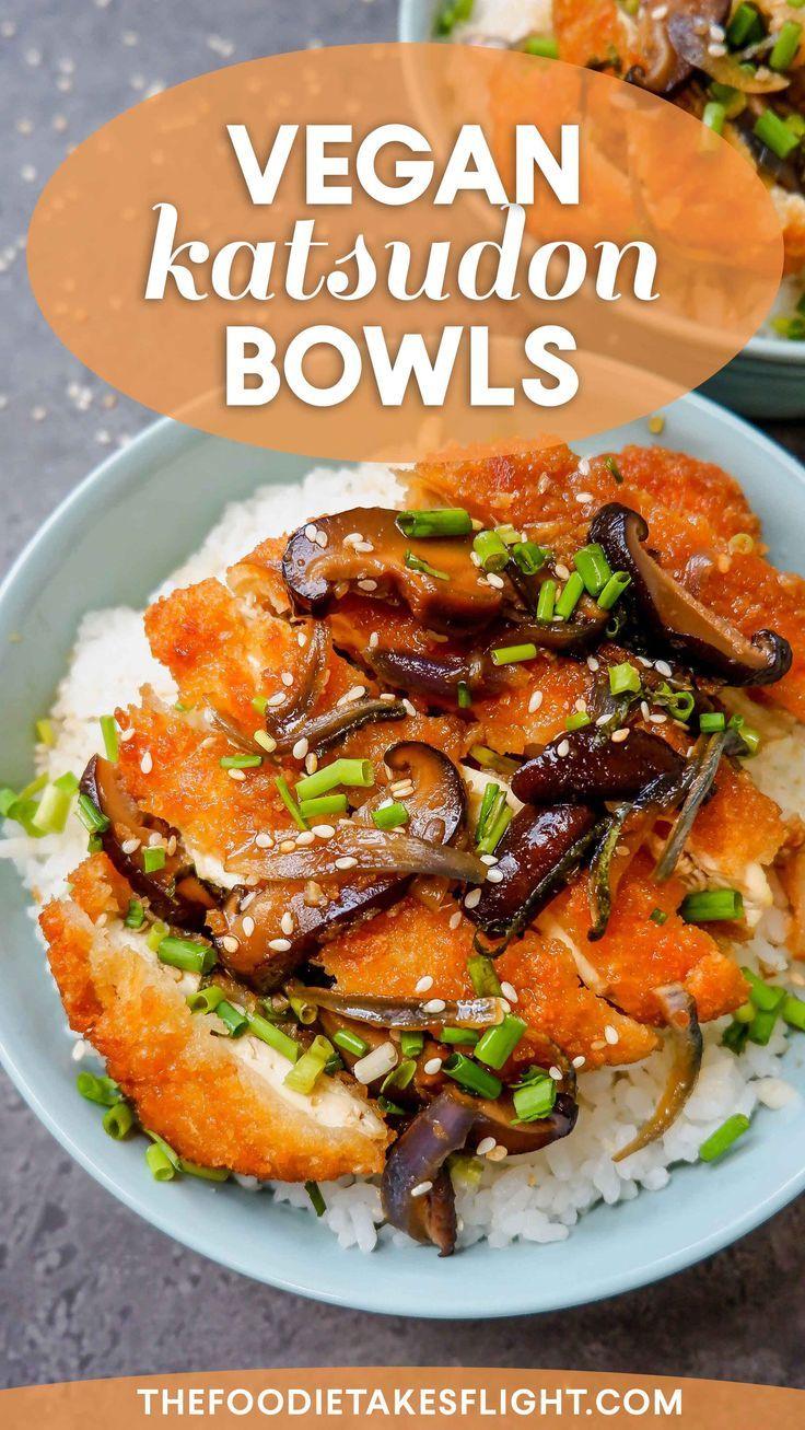 Japanese Style Katsudon Rice Bowls Vegan Recipe In 2020 Easy Japanese Recipes Recipes Vegan Recipes