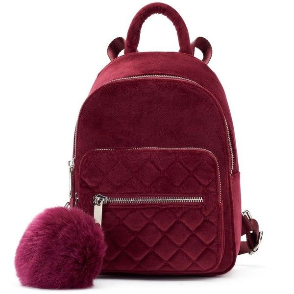 Candie's® Velvet Quilted Mini Backpack ❤ liked on Polyvore featuring bags, backpacks, backpack bags, rucksack bags, miniature backpack, purple bag and purple backpack