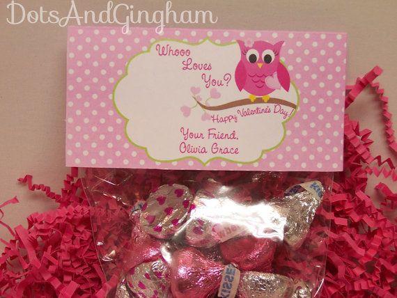 Valentine Treat Bag TopperValentine Owl Treat by DotsAndGingham, $7.00