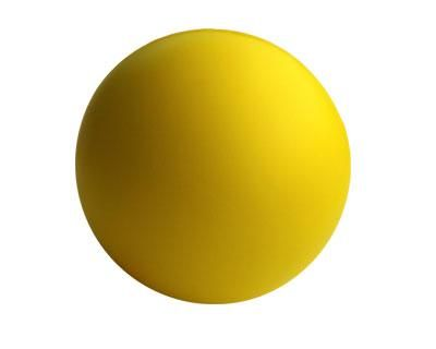 STRESS BALL YELLOW – S5  Price includes 1 color, 1 position print   2 Color imprint available for an additional charge  Decoration option: Pad print  Print Area: 30mm (D)  Product Size: 63mm (D)